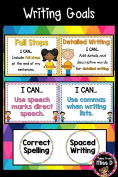 Set up and display Writing Goals in your classroom with this bright and colourful display. 1) 10 Writing Goal Posters 2) 10 Writing Goal Prompt Circles 3) Header for 'Writing Goals' 4) 13 'I can' statements for Writing 5) Name Tags for student names © Tales From Miss D