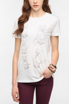2x3 Scribbled Cats Boyfriend Tee  #UrbanOutfitters