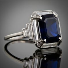 Art Deco Sapphire emerald cut and Diamond baguette ring
