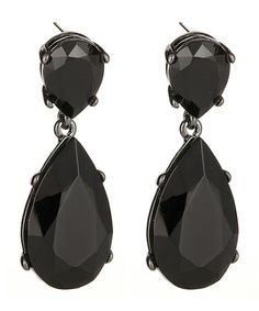 Kenneth Jay Lane Black Austrian Crystal Teardrop Earrings