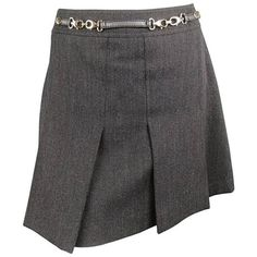 Preowned Gucci Size 10 Charcoal Wool Tweed Gold Hardware Pleated Mini... ($256) ❤ liked on Polyvore featuring skirts, mini skirts, black, pleated skirts, mini skirt, gucci, wool mini skirt, charcoal grey skirt and tweed skirt