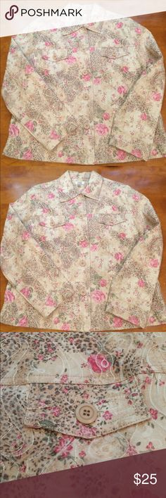 Floral Top - Baxter & Wells- size L Super adorable lightweight Baxter & Wells top/shirt jacket.  Worn once. No signs of wear. Super beautiful.  It's lightweight- unlined and perfect for summer. Quality fabric, not flimsy. Tag reads 72% cotton 26% polyester 2% spandex. baxter & wells Tops