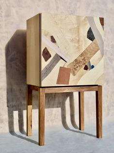 Maple body with marquetry from ash, oak root, mahogany, european maple, maple root, american cherry, pear, FSC® certified coloured veneers. Treated with natural oil. Craftsmen: Ádám János Nagy, Anna Lébényi #marquetry #designernightstand #marquetryfurniture #ethicaldesign #slowdesign #craftsmanshipdesign Slow Design, Marquetry, Floating Nightstand, Craftsman, It Works, Natural Oil, Wood, Outdoor Decor, Pattern
