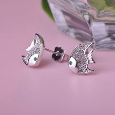 Cute Fish Brincos Pequenos Joias Ouro 18K Austrian Crystal Stainless Steel Small Earrings Love Aretes Ear Oorbellen Fine Jewelry