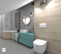 (Dom w okolicy Lublińca) Dom jednorodzinny 7 - Duża łazienka na poddaszu w domu jednorodzinnym, styl skandynawski - zdjęcie od BAGUA Pracownia Architektury Wnętrz