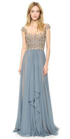 Reem Acra Embroidered Illusion Drop Shoulder Gown | SHOPBOP