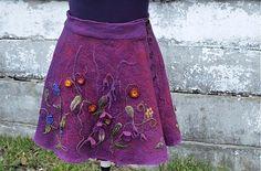 Hodvábno-vlnená sukňa vo farbách tmavej maliny a baklažánu   by FeltroModa - SAShE.sk - Handmade Sukne