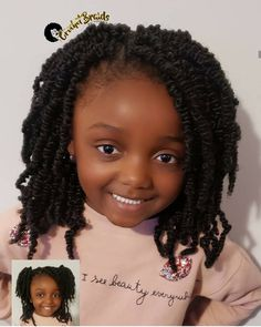 Crochet Braids by Twana is a hair styling service in Fredericksburg, Virginia. Crochet Braids are hair extensions added to a cornrow base with a latch hook. Childrens Hairstyles, Black Kids Hairstyles, Natural Hairstyles For Kids, Little Girl Hairstyles, Braids For Black Kids, Little Girl Braids, Girls Braids, Kid Braid Styles, Crochet Braid Styles