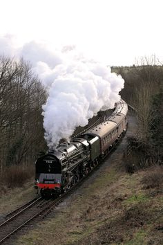 The Duke of gloucester in full steam on an incline Train Tracks, Train Rides, Diesel, Old Steam Train, Steam Railway, Bonde, Old Trains, Train Pictures, Steam Engine