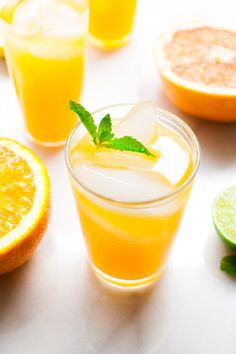 Mintade - a refreshing drink made from fresh squeezed orange, grapefruit, lemon, and lime juices with fresh mint leaves.   tamingofthespoon.com