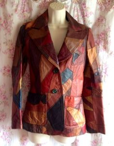 Vintage 70s Multi Color Patch Hippie Leather Jacket Small Free People Margiela