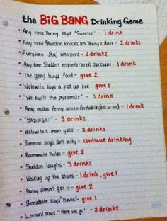 The Big Bang Drinking Game ~ Humor lol