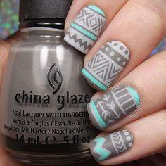 Grey themed tribal fall nails