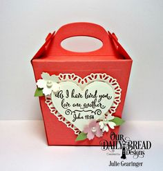 Stamping with Julie Gearinger: Welcome to the ODBD February 2017 New Release; ODBD Hugs & Kisses Stamp Set, ODBD Dies- Glorious Gable Box, Tulip Heart, Layering Hearts and Bitty Blossoms. #odbd, #odbddt, #ourdailybreaddesigns, #juliegearinger, #gloriousgablebox, #valentine, #wedding