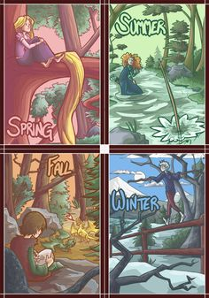 Season by season by ~Effar on deviantART **a cute mash up of the seasons and cartoon characters who fit**