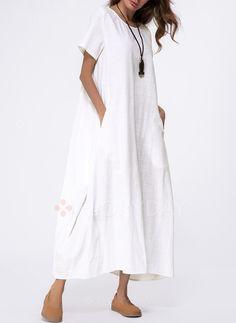 Dress - $45.99 - Cotton Solid Short Sleeve Maxi Shift Dress (1955140439)