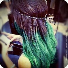 Even hippies can't resist a nice green dip dye hairdo, especially with a friendship bracelet headband!