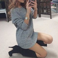 dress grey oversized sweater