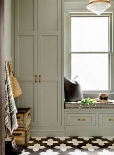Trend Sage Green Cabinetrybecki Owens - Today We Are Sharing A Trending Color For Sage Green This Soft Green Grey Is A Fresh Neutral That Looks Beautiful On Cabinetry Check Out These Laundry Rooms And Kitchens Check Out Our Green Hall Deco, Decoration Hall, Green Decoration, Sliding Pocket Doors, Decoration Inspiration, Decor Ideas, Home Interior, Luxury Interior, Interior Ideas