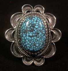 Ring by Navajo Kirk Smith with Spiderweb Turquoise.