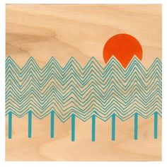 screen printed wood panel bu curious doodles