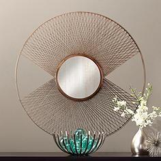 """Brasswell Wire 35"""" Round Sunburst Wall Mirror"""