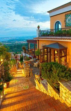 Taormina hotel Villa Ducale entrance, Taormina, Sicily, Italy ---- #famfinder