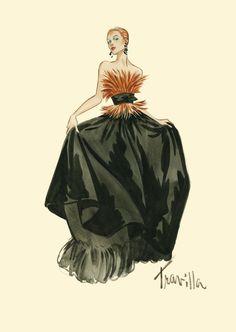 William Travilla - Costumes - Esquisses et Croquis - Robe Bustier Plumes - Couture