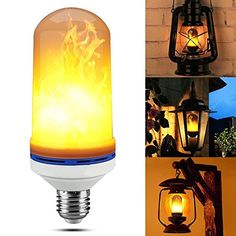 Yeahbeer LED Flame Effect Light Bulb, E26 Flickering Flame Light Bulbs, 105pcs 2835 LED Light Bulb Atmosphere Lighting Art Deco Vintage Simulation Flames Bar / Holiday Decorations - Yeahbeer Fire effect light Bulb is a magic product warm LED lighting, fire led bulb that like gas flames, let your house look more mysterious and beautiful. Power consumption, high - brightness, start instantly. The effect of flame is vivid, like a real burning fire. The best gift choice. Shockpr...