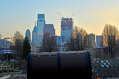 Spring Gardens and the Skyline. The new Comcast Technology Center is making progress in its construction.