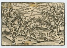 1490-1500 Combat scene. One of a collection of hand colored and 10 uncolored woodblock battle and military scenes, cut from books. Cavalrymen from two armies facing each other with spears, wounded or dead soldier on ground. Copyright - Anne S.K. Brown Military Collection at Brown University.