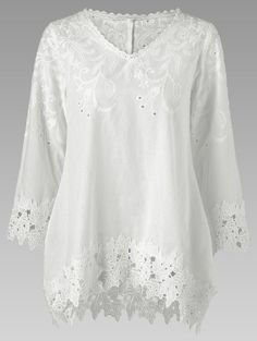 Lace Trim Broderie Cutwork Blouse