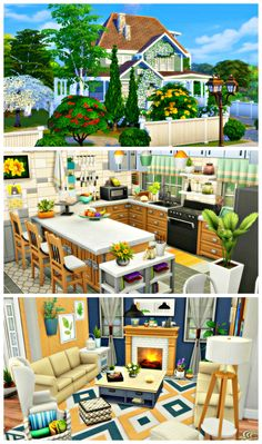 Green End'Green End' is the perfect family home! With 3 spacious bedrooms, 4 bathrooms, laundry room, large kitchen, liv Sims 4 House Plans, Sims 4 House Building, Sims 4 Family House, Home And Family, Sims 4 Kitchen, Kitchen Living, Sims 4 House Design, The Sims 4 Lots, Casas The Sims 4