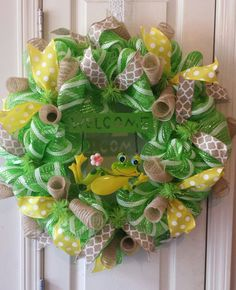 Spring/Summer Frog Welcome Wreath.  24 inch by CustomWreathDesign