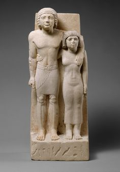 Statue of Memi and Sabu, Old Kingdom, Dynasty 4, ca. 2575–2465 B.C. Egyptian; Probably from Giza Painted limestone