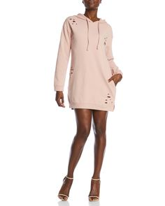 Honey Punch Distressed Hoodie Dress