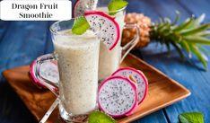 Dragon Fruit Smoothie Recipe Dragon Fruit Milkshake, Dragon Fruit Smoothie, Fruit Smoothie Recipes, Fruit Recipes, Healthy Recipes, Smoothie Drinks, Simple Recipes, Sweet Recipes, Healthy Drinks