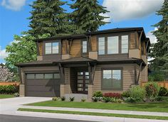 <div><ul><li>Decorative wood trim flares out to support the roof overhangs of this spacious Northwest house plan.</li><li>The home offers an open layout, rear covered porch and a tandem three car garage.</li><li>Need a sixth bedroom?