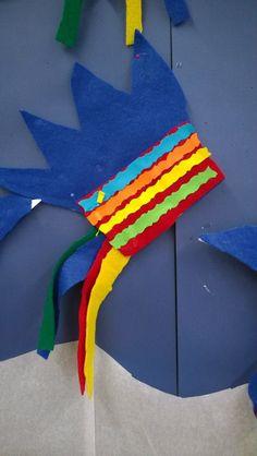 Oppilas itse piirsi mallin tai käytti valmista mallia, huopaan kiinni ja jäteväripaperisuikaleista kuviosaksilla koristeet. (Alkuopettajat FB -sivustosta / Kristiina Pakkanen)