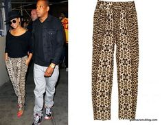 Beyonce's A.L.C. Elson Leopard Silk Crepe Tapered Pants and Christian Louboutin Unbout Illusion Pumps