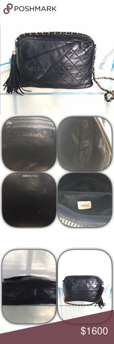 """Authentic Chanel Quilted Fringe Leather Bag Vintage Authentic Chanel Black Leather Bag. This bag is in great condition. The leather is super soft. There is minimal signs of wear considering that the bag is vintage. The gold hardware is lightly fading but it can be re-plated. There is normal wear along the edges of the bag but there are no issues with the piping or stitching. The serial number sticker is located in the small interior pocket.   Measurements  9""""W x 6""""H x 2.25""""D the strap has a…"""