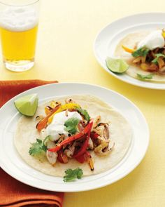Fast Chicken Fajitas - add shredded lettuce and avocado, and serve with rice and beans for a complete meal