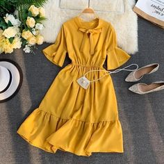 HISUMA 2019 summer new women's pure color bow collar flare sleeve ruffles A-line dress female elegant waist chiffon dresses Modest Dresses, Stylish Dresses, Modest Outfits, Elegant Dresses, Dress Outfits, Casual Dresses, Chiffon Dresses, Dress Shoes, Modest Wear