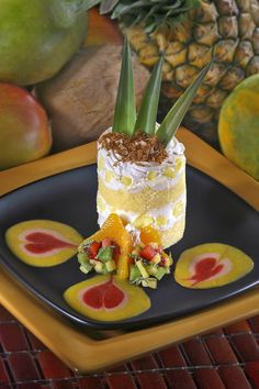 This is a beautiful recipe for a Pineapple Tiramisu. The dessert is created with layers of pound cake and a layer of a pineapple infused cream cheese and mascarpone cheese whip. The tiramisu is then it is garnished with a fruit relish and fruit purees. Mango Puree, Fruit Puree, Toasted Coconut, Coconut Cream, Strawberry Whipped Cream, Mascarpone Cheese, Cake Photography, Tiramisu Cake, Frozen Fruit
