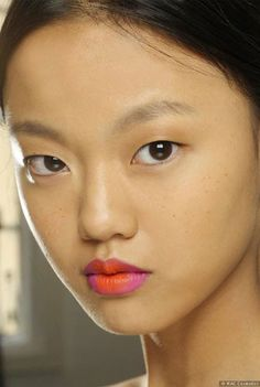 The Duo Lip - One of the key SS14 Trends -Morange and Show Orchid (Pro shade) by MAC