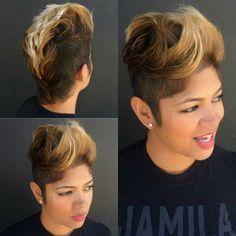 Cutest Mohawk ever Short Sassy Hair, Short Hair Cuts, Pixie Cuts, Short Pixie, Asymmetrical Pixie, Weave Hairstyles, Cute Hairstyles, Undercut Hairstyles, Mowhawk Hairstyles