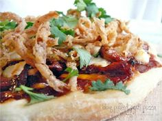 BBQ Pulled Pork Pizza with Crispy Onion Straws, now this is a pizza that would appeal to my taste buds.