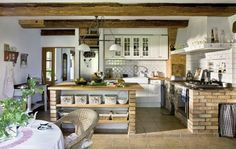 Image result for cocina de obra con dos hogares Country Kitchen, Rustic Kitchen, Kitchen Pantry, Kitchen Brick, Kitchen Dining, Kitchen Decor, Decorating Kitchen, Nice Kitchen, Stylish Kitchen