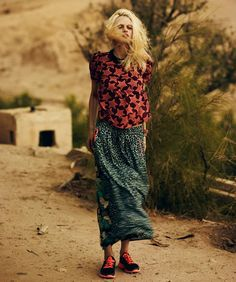 Scotch and Soda Spring 2013 campaign Resort print tribal silky blouse long skirt