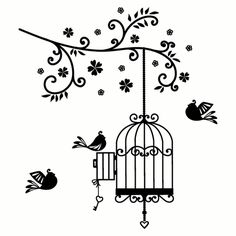 Open Birdcage Drawing Bird Cage Drawing Bird - Clipart Suggest Birdcage Drawing, Black Bird Tattoo, Tattoo Bird, Tattoo Tree, Art Noir, Antique Bird Cages, Wall Painting Decor, Buch Design, Wall Drawing